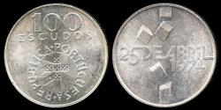 World Coins - 1976 Portugal 100 Escudo - 1974 Revolution - Silver Commemorative - BU