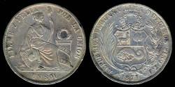 World Coins - 1871 YJ Peru 1 Sol XF
