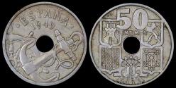 """World Coins - 1949 (56) Spain 50 Centimos - """"Arrows Up"""" - BU"""