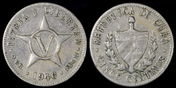 World Coins - 1946 Cuba 5 Centavos - 1st Republic - VF