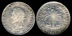 World Coins - 1862 FP-PTS Bolivia 8 Soles AU