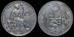 World Coins - 1882 BF Peru 1 Sol AU