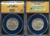 "World Coins - 1952 Cuba 40 Centavos - ""50th Year of the Republic"" Silver Commemorative ANACS AU55"