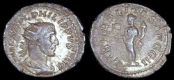 Ancient Coins - Philip I Antoninianus - LIBERALITAS AVGG II - Rome Mint