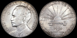 "World Coins - 1953 Cuba 1 Peso - ""Centennial of Jose Marti Birth"" - UNC"