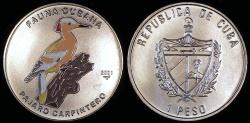 World Coins - 2001 Cuba 1 Peso - Multi-colored Woodpecker - Caribbean Fauna - BU (Tiny Mintage)