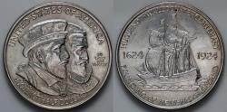 Us Coins - 1924 Huguenot-Wallon Tercentenary Commemorative Silver Half Dollar (Only 142,080 pieces were struck) - BU