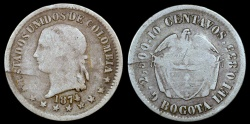 World Coins - 1874 Colombia 2 Decimos - Decimal Coinage - F Silver