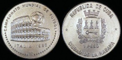 World Coins - 1989 Cuba 1 Peso - World Soccer Championship - BU (Only 2,000 Pieces Were Struck)