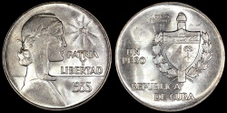 """World Coins - 1935 Cuba 1 Peso - """"ABC Peso"""" - UNC"""