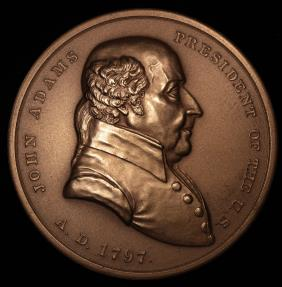 """US Coins - 1789 John Adams """"Indian Peace Medal"""" - Second President of the United States (March 4, 1797 to March 3, 1801) - Original US Mint Medal by Moritz Furst and John Reich"""