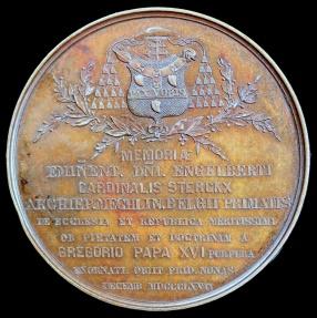 World Coins - 1867  Belgium - Cardinal Engelbert Sterckx, Death Medal: Archbishop of Mechelen, Belgium: Baptised Louis-Philippe, Crown Prince of Belgium by Charles Wiener and JP Groolaers