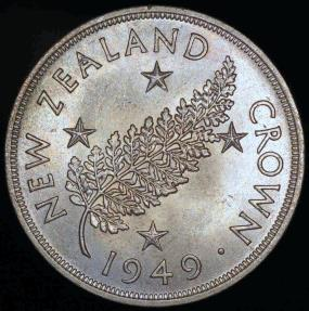 World Coins - 1949 New Zealand Crown