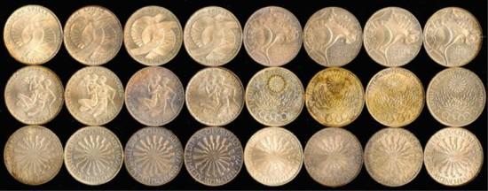 World Coins - 1972 Germany (Federal Republic) Munich Olympic 10 Mark Coin Set