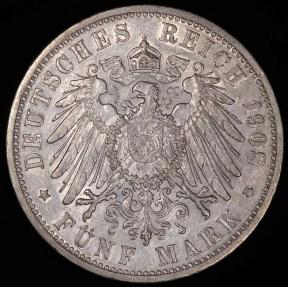 World Coins - 1908 D Germany - Bavaria 5 Mark - Otto Koenig - AU Silver