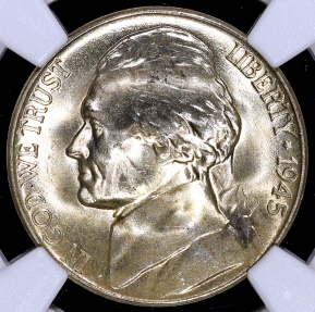 US Coins - 1945 D Jefferson Nickel (Silver) NGC MS65