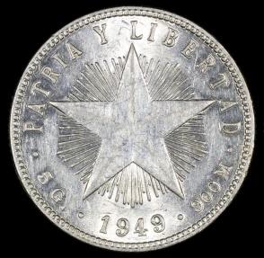 World Coins - 1949 Cuba 20 Centavos BU