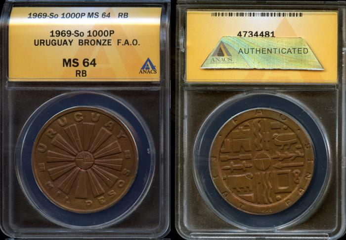 World Coins - 1969 So Uruguay 1000 Pesos - F.A.O. Bronze Issue - ANACS MS64 RB