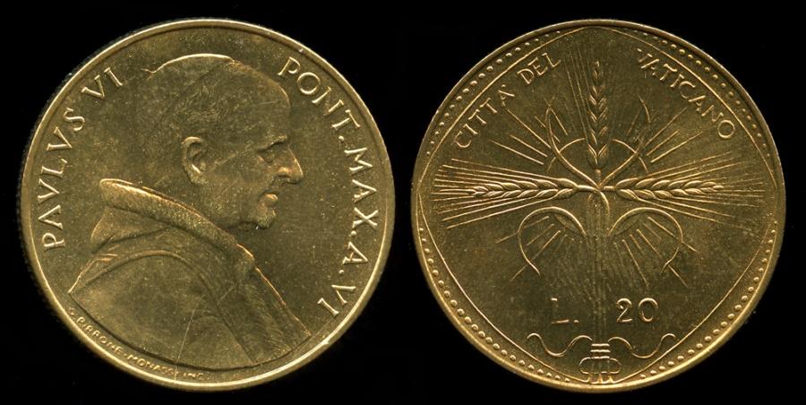 World Coins - 1968 Vatican 20 Lire - Pope Paul VI - FAO Coin - BU