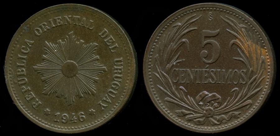 World Coins - 1946 So Uruguay 5 Centesimos BU