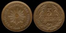 World Coins - 1948 So Uruguay 5 Centesimos UNC