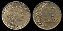 World Coins - 1920 Peru 10 Centavos BU