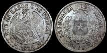 """World Coins - 1876 Chile 1 Peso - """"Condor Peso"""" - XF"""