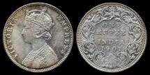 World Coins - 1901 B India (British) 1 Ruppe AU