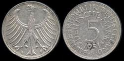 World Coins - 1951 F Germany - Federal Republic 5 Mark AU