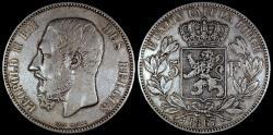 World Coins - 1867 Belgium 5 Franc - Leopold II - VF
