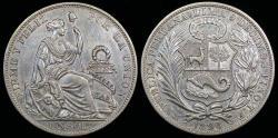 World Coins - 1896 T.F. Peru 1 Sol AU