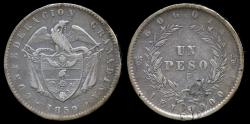 World Coins - 1859 Colombia 1 Peso VF