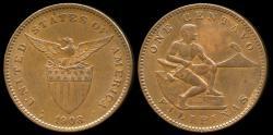 World Coins - 1908 S Philippines 1 Centavo AU