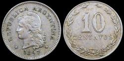 World Coins - 1897 Argentina 10 Centavos AU