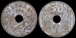 "World Coins - 1949 (53) Spain 50 Centimos - ""Arrows Up"" - UNC"