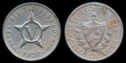 World Coins - 1920 Cuba 5 Centavo - 1st Republic - AU