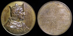 """World Coins - 1837 France - Philip VI, """"The Fortunate"""", first King of France from the House of Valois (1328 - 1350) by Armand-Auguste Caqué #50"""