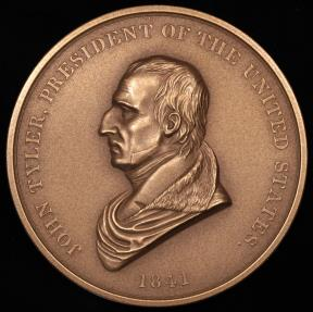 "US Coins - 1841 John Tyler ""Indian Peace Medal"" - Tenth President of the United States (April 6, 1841 to March 3, 1845) - Original US Mint Medal by Ferdinand Pettrich and John Reich"