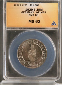World Coins - 1929 E Weimar Republic 3 Reichsmark