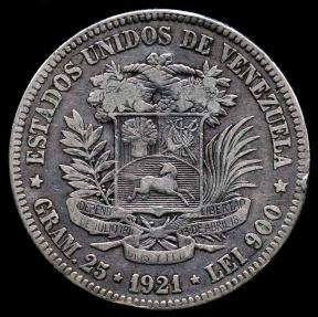World Coins - 1921 Venezuela 5 Bolivares VF