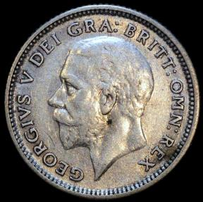 World Coins - 1927 Great Britain 6 Pence - George V - AU