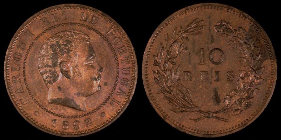 World Coins - 1892 Portugal 10 Reis - Carlos I - UNC
