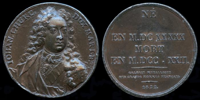 World Coins - 1822 France - John Churchill, 1st Duke of Marlborough, Prince of Mindelheim, (English soldier and statesman) By Jacques Antoine Dassier