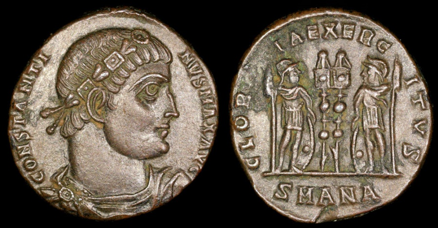 Ancient Coins - Constantine I Ae3 - GLORIA EXERCITVS - Antioch Mint
