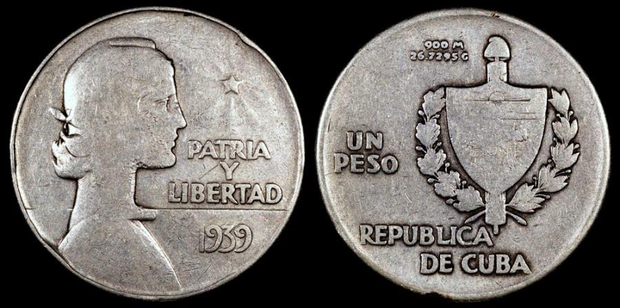 "World Coins - 1939 Cuba 1 Peso ""ABC"" VF"