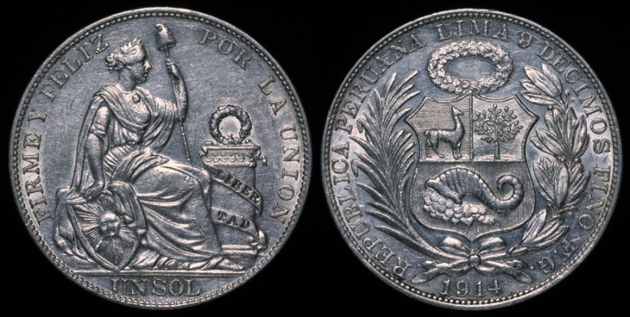 World Coins - 1914 FG Peru 1 Sol UNC