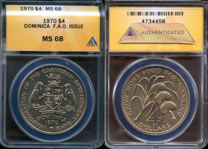 World Coins - 1970 Dominica 4 Dollars - F.A.O. Issue - ANACS MS68