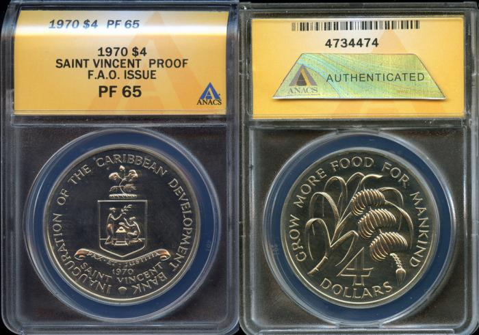 World Coins - 1970 St. Vincent 4 Dollars - F.A.O. Issue ANACS PF65