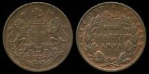 World Coins - 1835 India 1/4 Anna VF