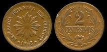World Coins - 1948 So Uruguay 2 Centesimo AU